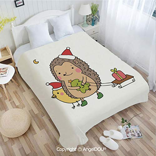 AngelDOU Printed Blanket Soft Quilt Bed Throws W59 xL78 Cartoon Hedgehog with Bird and a Christmas Tree Pulling Sled Holiday Themed Image Bed Cover Air Condition Blankets. ()
