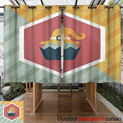 RenteriaDecor Outdoor Balcony Privacy Curtain Halloween Cupcake with Witch s hat Flat icon with Long Shadow W84 x L72]()