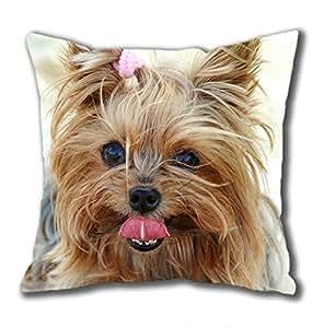Yorkshire Terrier dog pop Cotton Square Pillow Case by Cases & Mousepads