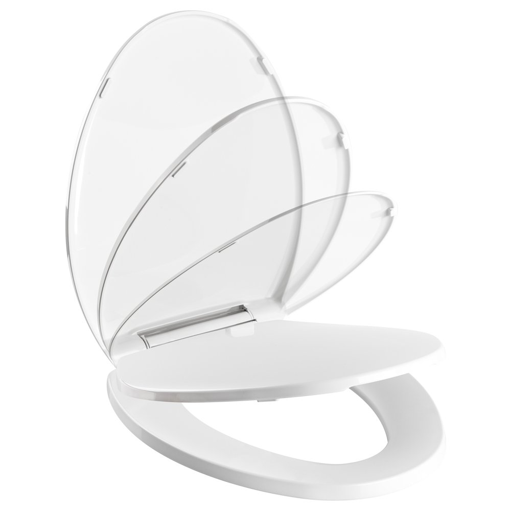 Bellingham Elongated Soft Close Toilet Seat Pacific Bay (White) - Beautiful and Sturdy Addition to any Bathroom