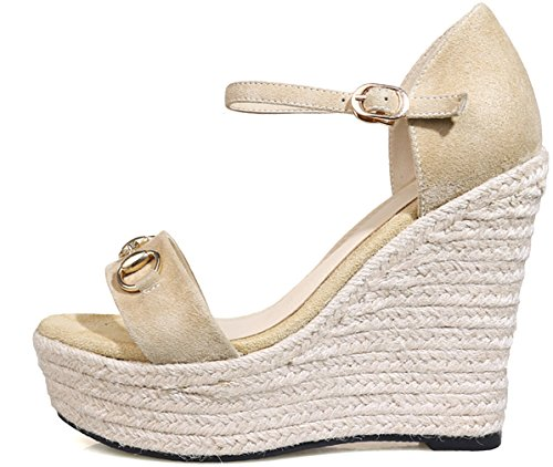Heel Calaier 12CM Shoes Salsm Open Sandals Beige Women Buckle Wedge Toe rZrwgYa