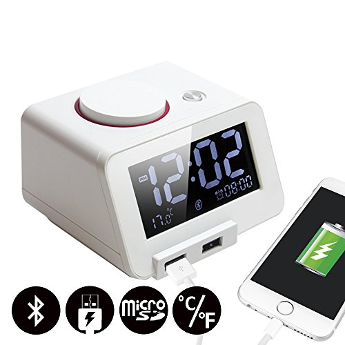 Homtime C1-PRO Music Alarm Clock with Bluetooth Speaker, Dual USB Charging, Personalized Alarm Ring, Thermometer, 3 Level Dimmable, Perfect for Home, Hotel and Office, White