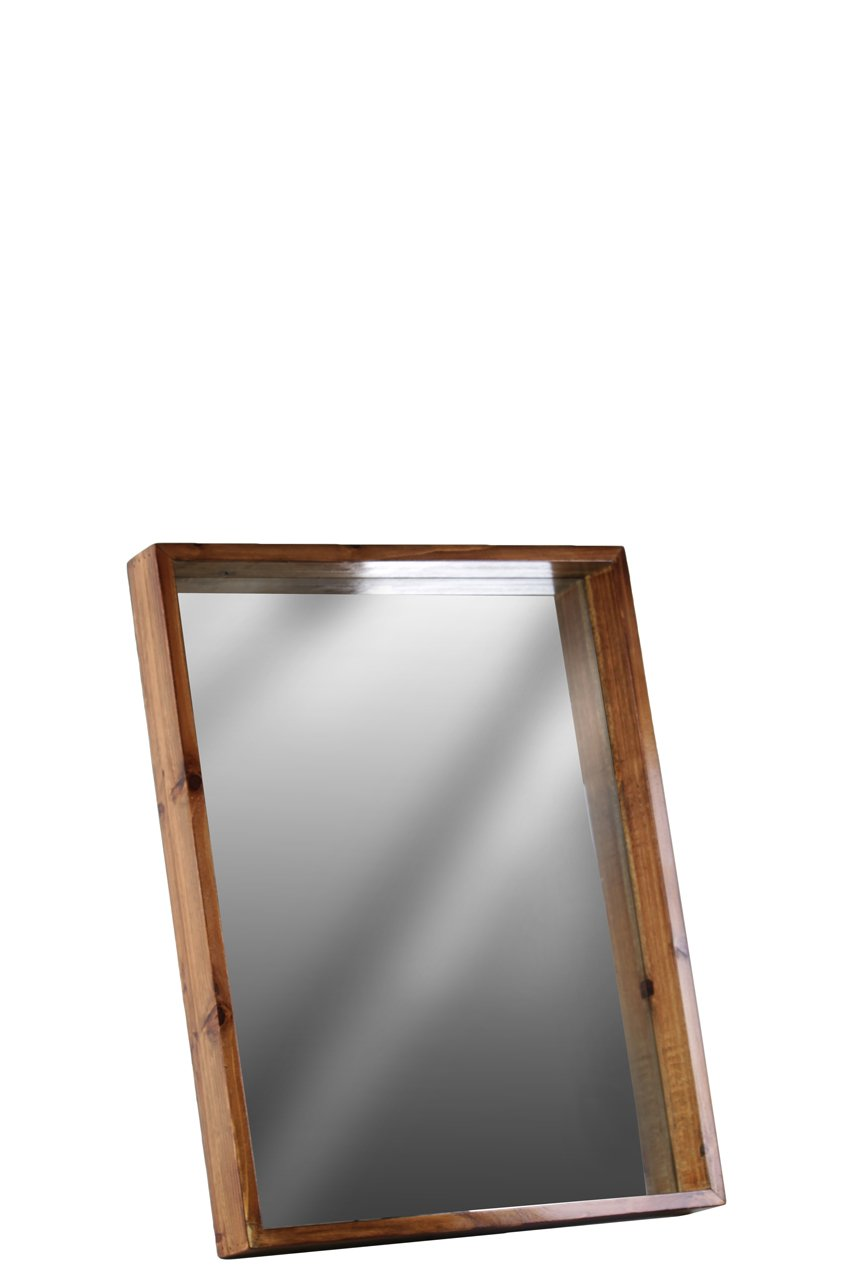 Urban Trends Wood Rectangular Wall Mirror with Protruding Frame SM Varnished Wood Finish Brown, Small