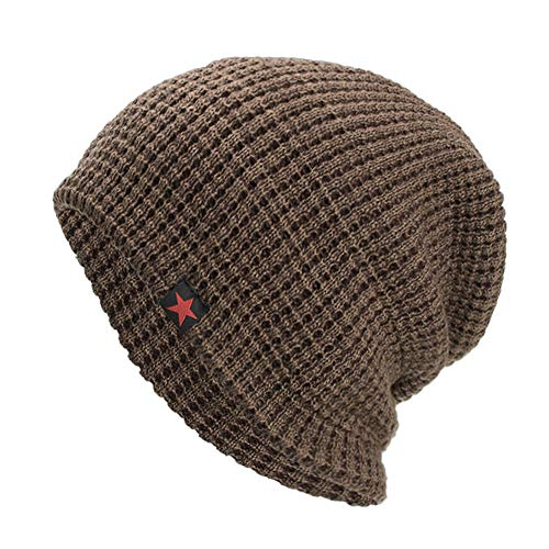iYBUIA Casual Unisex Warm Baggy Weave Crochet Winter Wool Knit Ski Beanie Skull Caps Hat(Khaki ,One Size)
