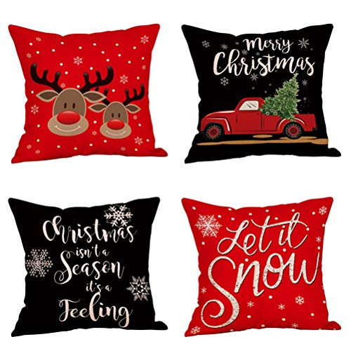 Steven.Smith 4 Pack Let It Snow Christmas Decorative Pillow Covers,Red Truck Xmas Tree,Happy Deer,Christmas Isn't a Season It's a Feeling Quotes Throw Pillowcase Home Sofa Holiday Decor