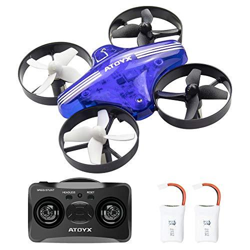 ATOYX AT-66 Mini Drone, RC Drone Niños 3D Flips, Modo sin Cabeza, Estabilización de Altitud, 3 Modos de Velocidad 4 Canales 6-Ejes, Regalos de Navidad o Año Nuevo para Niños y Principiantes, Azul