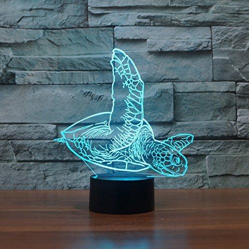 3D Schildkrö ten Optische Illusions-Lampen, Tolle 7 Farbwechsel Acryl berü hren Tabelle Schreibtisch-Nachtlicht mit USB-Kabel fü r Kinder Schlafzimmer Geburtstagsgeschenke Geschenk RXHK