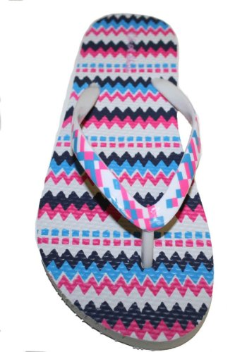 Womens Flip Flop With color Straps and Comportable Footbed White zYLlh4u