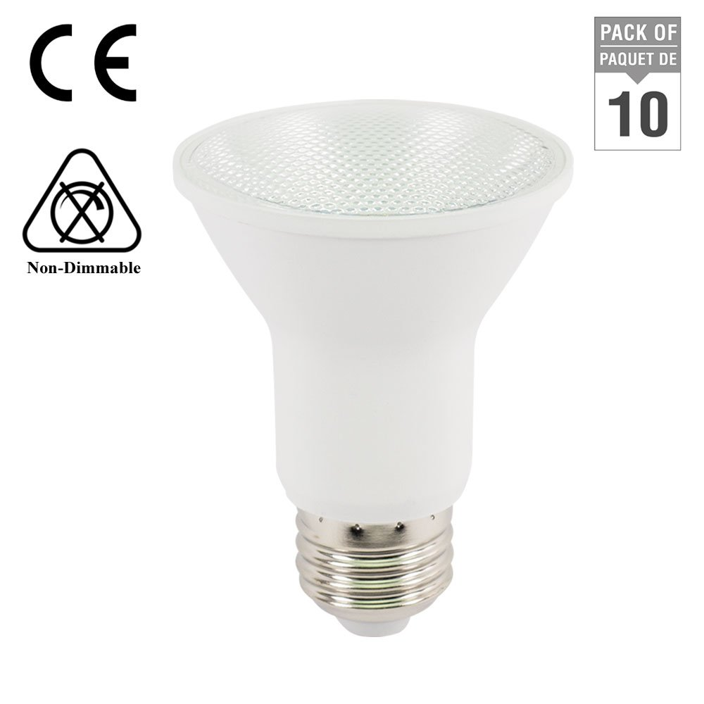 LightUp™ -Pack of 10-6W (50W Equivalent) PAR20 2700K Warm White LED Spot Light Bulb, Medium base (E26), 120V AC, 36° Beam Angle, 420 lumen