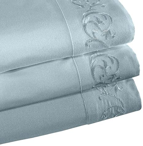 White Full Size Veratex The Elantra Collection 100/% Micro Denier Fabric 4-Piece Bedroom Sheet Set With Elegant Scroll Embroidered Design