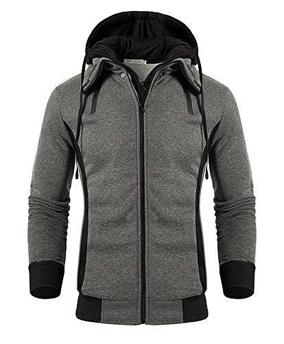 QPNGRP Men's Hoodies Slim-Fit Double Zipper Hooded Sweatshirt Jacket (Darkgray Large)
