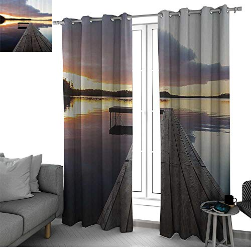 (bybyhome House Decor Curtains for Sliding Glass Door View of Sunset Over an Old Oak Deck Pier and Calm Water of The Lake Horizon Serenity Small Window Curtain Multicolor W96)