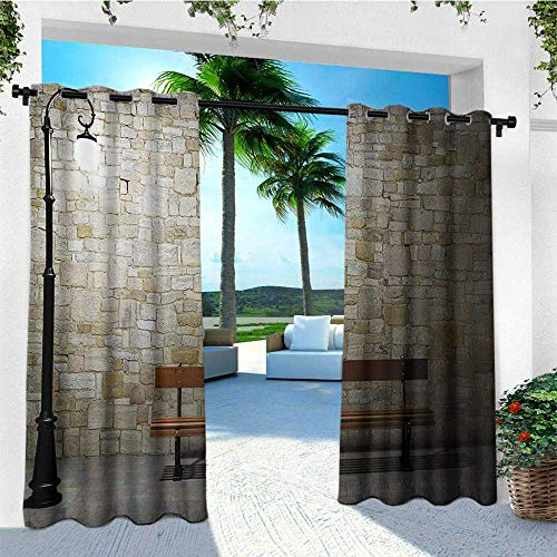 leinuoyi Street, Outdoor Curtain Pair, Modern Avenue at Dark Night with a Open Lamp and Bench and Stone Wall Behind Image, for Patio W84 x L108 Inch Multicolor
