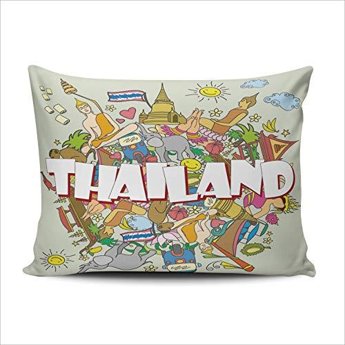 MUKPU Pillow Covers Thailand Tropical Elephant Temple Chiang Mai Throw Pillow Case Hidden Zipper Decorative Custom Pillow Cases One Side Printed Boudoir 12x16 Inches