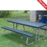 Collapsible Picnic Table Outdoor Indoor Lawn Garden Yard Portable Folding Foldable Metal Frame Furniture & Ebook By Easy2Find