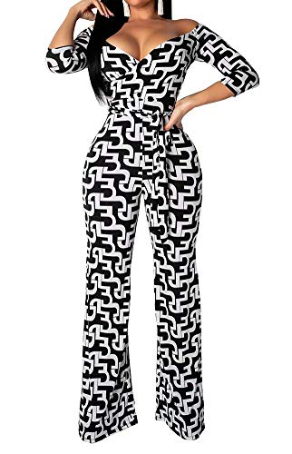 (OLUOLIN Women Sexy Off Shoulder Geometric Print 3/4 Sleeves V Neck Wrap Belted Wide Leg Jumpsuits Romper Black M)