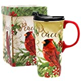 CEDAR HOME Travel Coffee Ceramic Mug Porcelain Latte Tea Cup With Lid in Gift Box 17oz. Parrot Bird