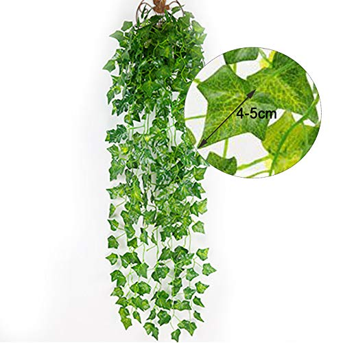 Hubs-Gadget-12-Strands-84-Ft-Artificial-Ivy-Hanging-Plants-Faux-Greenery-Vines-Fake-Garland-for-Wall-Party-Wedding-Home-Room-Office-Indoor-Outdoor-Decoration-80-Leaves-per-Strand