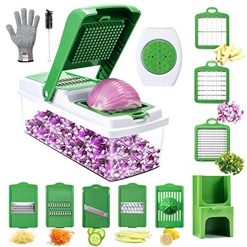 Veggie Spiralizer Slicer Cutter Grater, WOKOKO Onion Chopper Pro Mandoline Vegetable Chopper Dicers for Garlic, Cabbage, Carrot, Potato, Tomato, Fruit, Salad