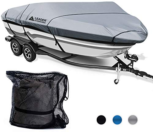 Leader Accessories 300D Polyester 5 Colors Waterproof Trailerable Runabout Boat Cover Fit V-Hull Tri-Hull Fishing Ski Pro-Style Bass Boats, Full Size (16'-18.5'L Beam Width up to 94'', ()