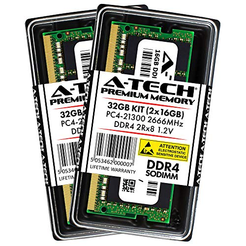 A-Tech 32GB DDR4 2666MHz Laptop Memory Kit (2 x 16GB) PC4-21300 Non-ECC Unbuffered SODIMM 260-Pin 2Rx8 1.2V Dual Rank Notebook Computer RAM Upgrade Sticks (AT16G2D4S2666ND8N12V)