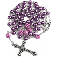 Catholic Purple Pearl Beads Rosary Necklace 6pcs Our Rose Lourdes Medal & Cross NS