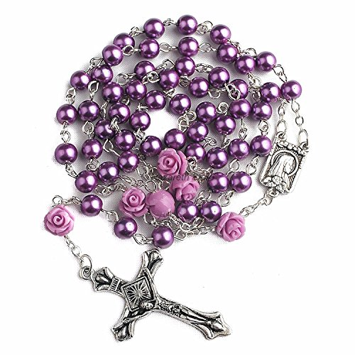 (Catholic Purple Pearl Beads Rosary Necklace 6pcs Our Rose Lourdes Medal & Cross NS)