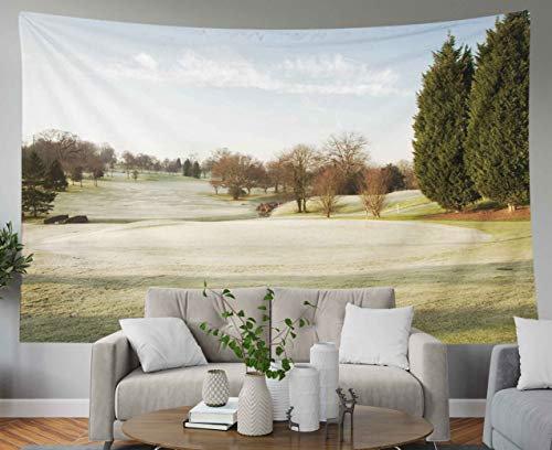 Anucky Tapestry Wall Hanging, Tapestries Polyester Fabric for Home Decoration, Golf Course in Winter The UK Drapped Frost Dorm Décor and Bedroom 60x50 inch Huge Tapestry