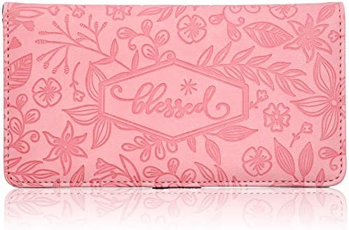 Floral Checkbook Cover for Women Card Holder Wallet for Checks & Credit Cards, RFID Blocking (Pink)