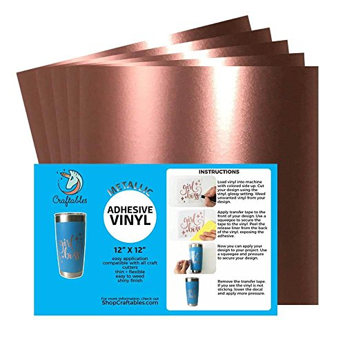 Craftables Rose Gold Metallic Craft Vinyl for Cricut and Silhouette, Cameo - Chrome Polish Finish Vinyl - (5) 12'' x 12'' sheets by Craftables