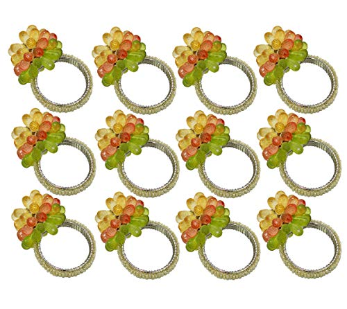 COTTON CRAFT - 12 Pack Floral Beaded Napkin Ring Set - Rust,Gold Multi - Hand Made by Skilled artisans - A Beautiful complement to Your Dinner Table décor (Rings Flower Napkin)