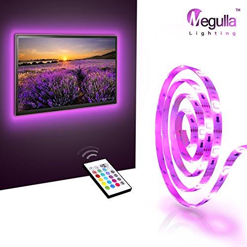 LED TV Backlight, Megulla Bias TV Lighting Kit -Precut USB-Powered LED RGB Strip Light with Wireless Remote- for HDTV, PC, Home Theater, Desktop Monitor and more-White, Universal