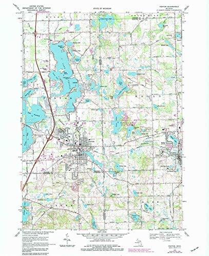 YellowMaps Fenton MI topo map, 1:24000 Scale, 7.5 X 7.5 Minute, Historical, 1969, Updated 1984, 27 x 22 in - Polypropylene