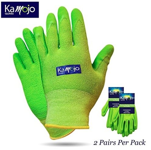 Bamboo Gardening Gloves for Women & Men (2 pairs pack) Ultra-Premium & Breathable to Keep Hands Dry - Textured Grip to Reduce Slipping Garden & Work Gloves by Kamojo (Large) by Kamojo