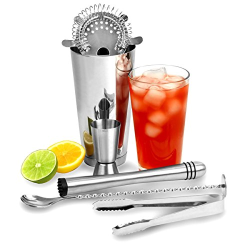 bar@drinkstuff Cocktail-Set, Edelstahl, Boston Cocktail-Shaker, Hawthorne-Sieb, Messbecher, Eiszange und gedrehter Mix-Löffel