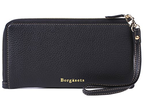 Borgasets RFID Protection Genuine Leather Wallet with Removable Strap Wristlet Zip Clutch Passport Holder ()