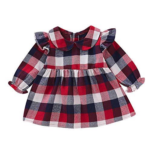 2018 Girl Plaid Princess Dress,Infant Toddler Baby Long Lantern Sleeve Ruffles Cloth (6-12 Months, Red) ()
