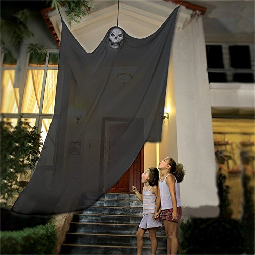Flying Ghost Prop (Halloween Prop Hanging Ghost Decor, 7ft Hanging Ghost Decoration - Halloween Party Prop Hanging Scary Skeleton Flying Ghost Accessory Fancy Dress Newest 2017 For Yard Outdoor Indoor Party Bar (Black))