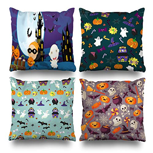 (Pakaku Set of 4 Decorativepillows Case Throw Pillows Covers for Couch/Bed 18 x 18 inch,Cartoon Halloween Scene Ghost Vampire Children Home Sofa Cushion Cover Pillowcase Gift Bed Living)
