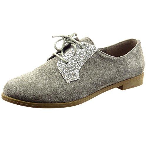 Sopily - Zapatillas de Moda zapato derby Tobillo mujer brillantes brillante Talón Tacón ancho 2 CM - Gris
