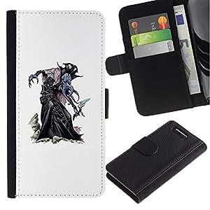 All Phone Most Case / Oferta Especial Cáscara Funda de cuero Monedero Cubierta de proteccion Caso / Wallet Case for Sony Xperia Z1 Compact D5503 // blanco Halloween bruja monstruo personaje