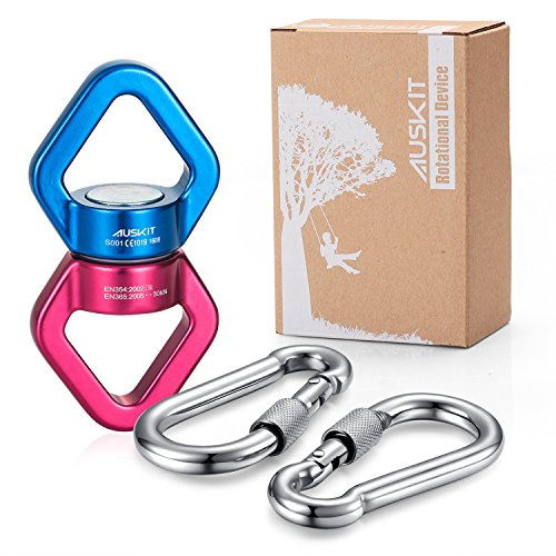 AusKit Swing Swivel, 30 KN Pulley, Safest Rotational Device Hanging Accessory with Carabiners for Web Tree Swing, Swing Setting, Aerial Dance, Children's Swing (Red/Blue) (Spinner Tree)