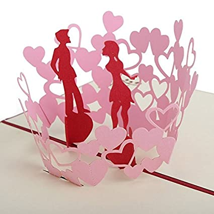 Valentine Day Gift 3D Pop Up Kissing Couple Handmade Greeting Cards To Wife Girlfriend For Birthday