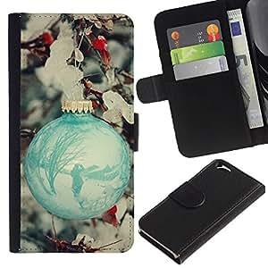 All Phone Most Case / Oferta Especial Cáscara Funda de cuero Monedero Cubierta de proteccion Caso / Wallet Case for Apple Iphone 6 // Ball Decoration Teal Snow Winter