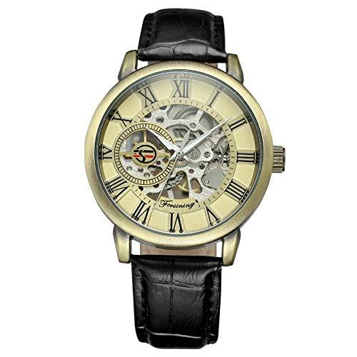 Relojes Hombre Relojes de Pulsera Mecánico Automático Militar Impermeable Esqueleto Deportes Diseño Reloj de Cuero Analógico Negocios Lujo: Amazon.es: ...