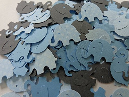 Light Blue Polka Dot Grey and Solid Light Blue Elephant Confetti- One Inch Elephants – Table Scatter – Baby Boy Shower Elephant Die Cuts – Scrapbookin…