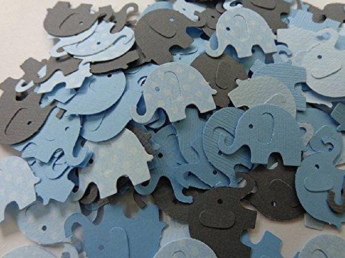 Light Blue Polka Dot Grey and Solid Light Blue Elephant Confetti- One Inch Elephants – Table Scatter – Baby Boy Shower Elephant Die Cuts – Scrapbookin…
