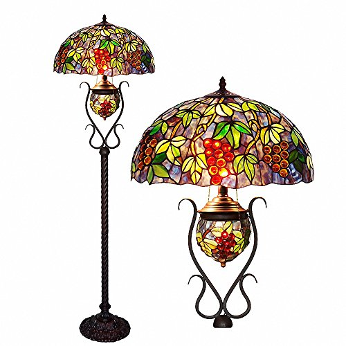 Floor Lamps,Magcolor Tiffany Style Stained Glass Raisin Grape Oval Floor Lamp with 18 inches Handmade Lampshade, Double Lit, Suitable for Decorating Room