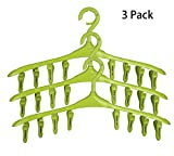 SUOWO Plastic Baby Hangers Coat Clothes Clip and Drip Laundry Swivel Hanger with 8 Clips Non Slip Space Saving for Drying Organizer Kids Infant Diapers Socks Adult Lingerie Pant 3 Pack (Lawngreen)