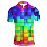 HUGS IDEA Colorful Plaid Design Novelty Men's Short Sleeves Sport Jersery Polos Shirt T-Shirt Tee Tops